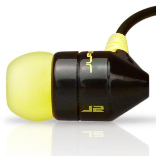 JBuds J2 Premium Hi-Fi Noise-Reducing Earbuds Style Headphones (Black / Yellow)