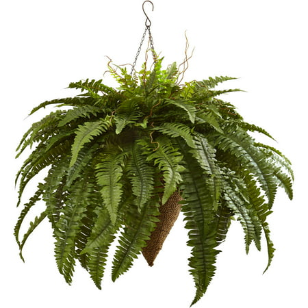 Nearly Natural Giant Boston Fern with Cone Hanging (Hanging Cone Natural)