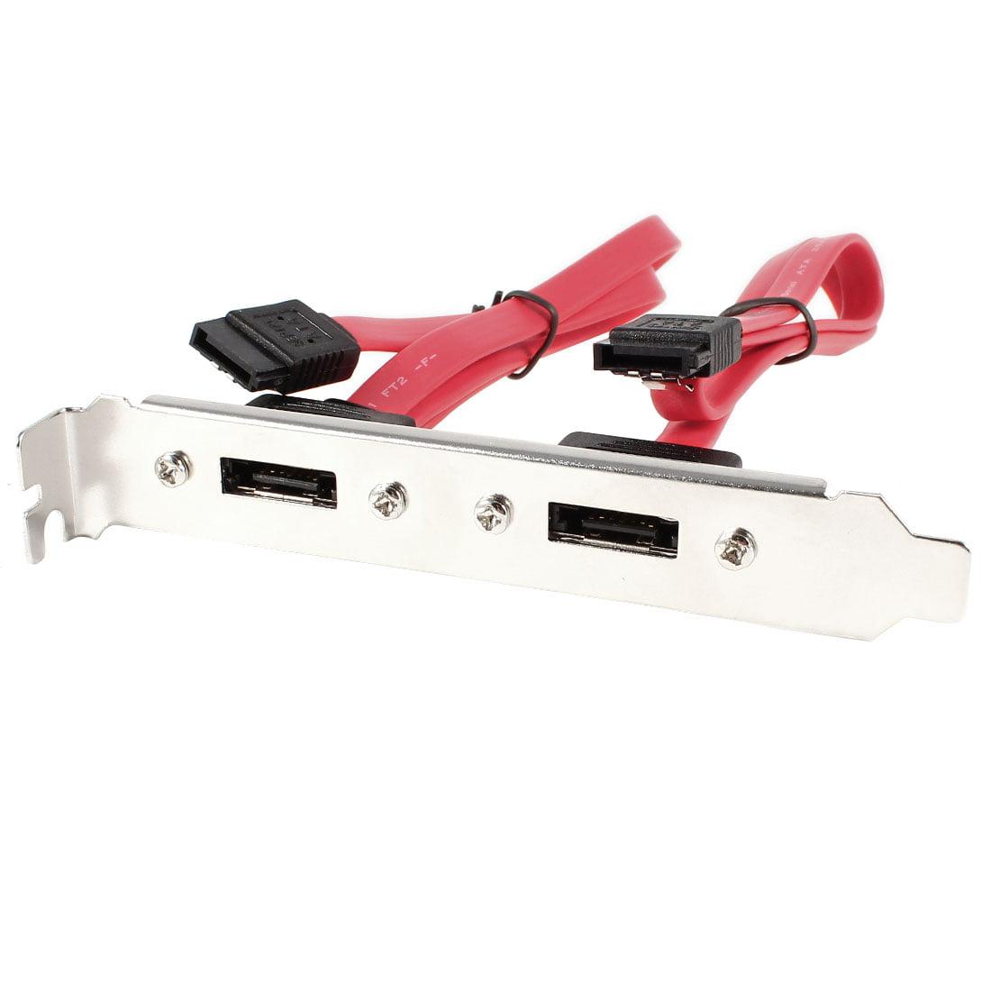 Unique Bargains Dual External eSATA to Double Internal SATA 7 Pin f/f Cable PCI Bracket Slot