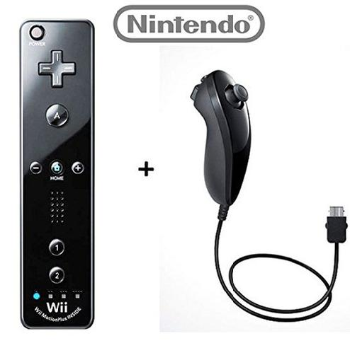Official Nintendo Wii/Wii U Remote Plus Controller and Nunchuk Nunchuck Combo Bundle Set [Black] (Bulk Packaging)