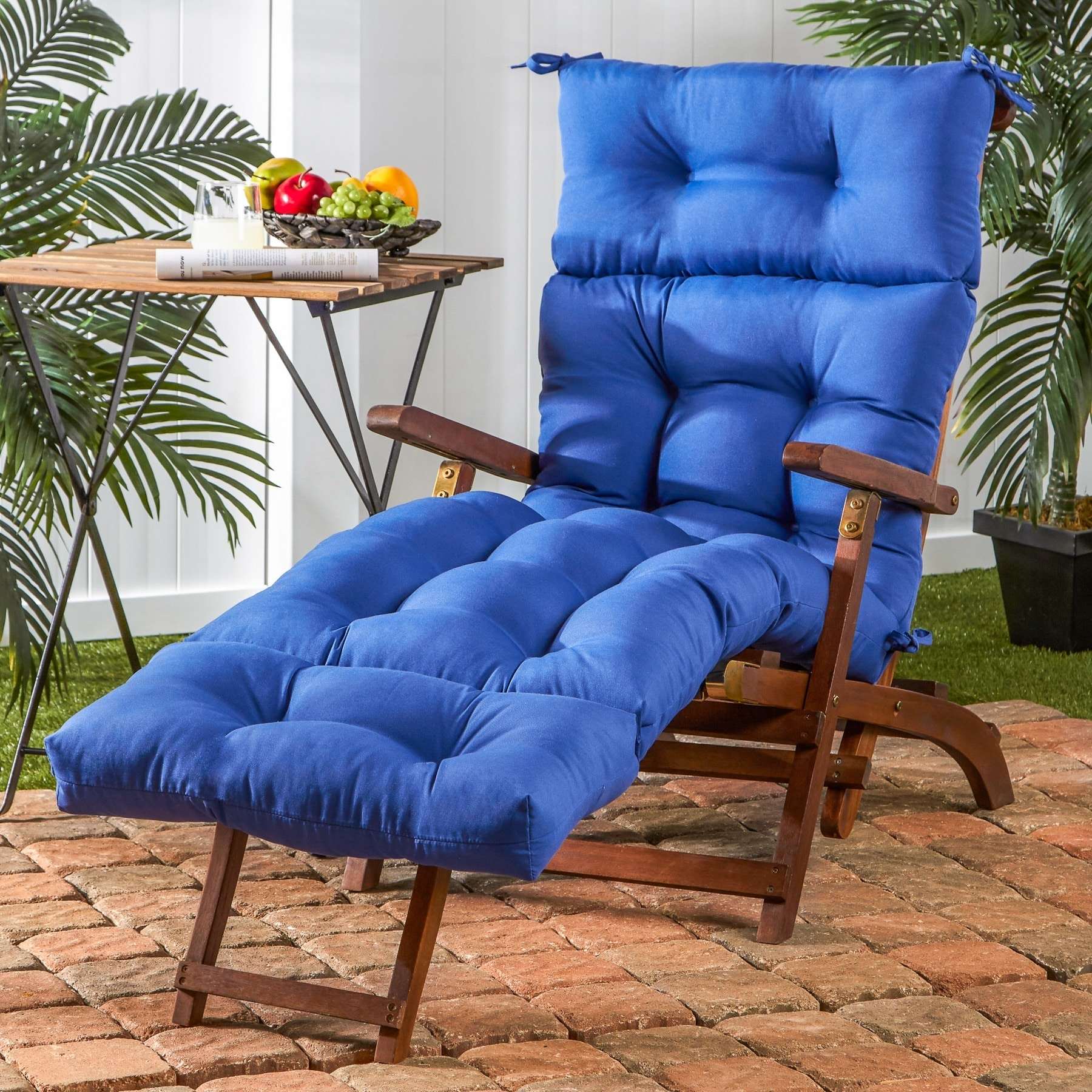 Greendale Home Fashions 72-inch Outdoor Marine Blue Chaise Lounger Cushion