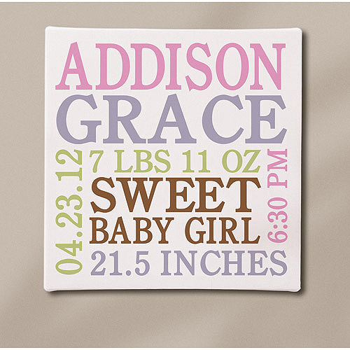 """Personalized Baby Info Canvas, 11"""" x 11"""", Available in Pink or Blue"""