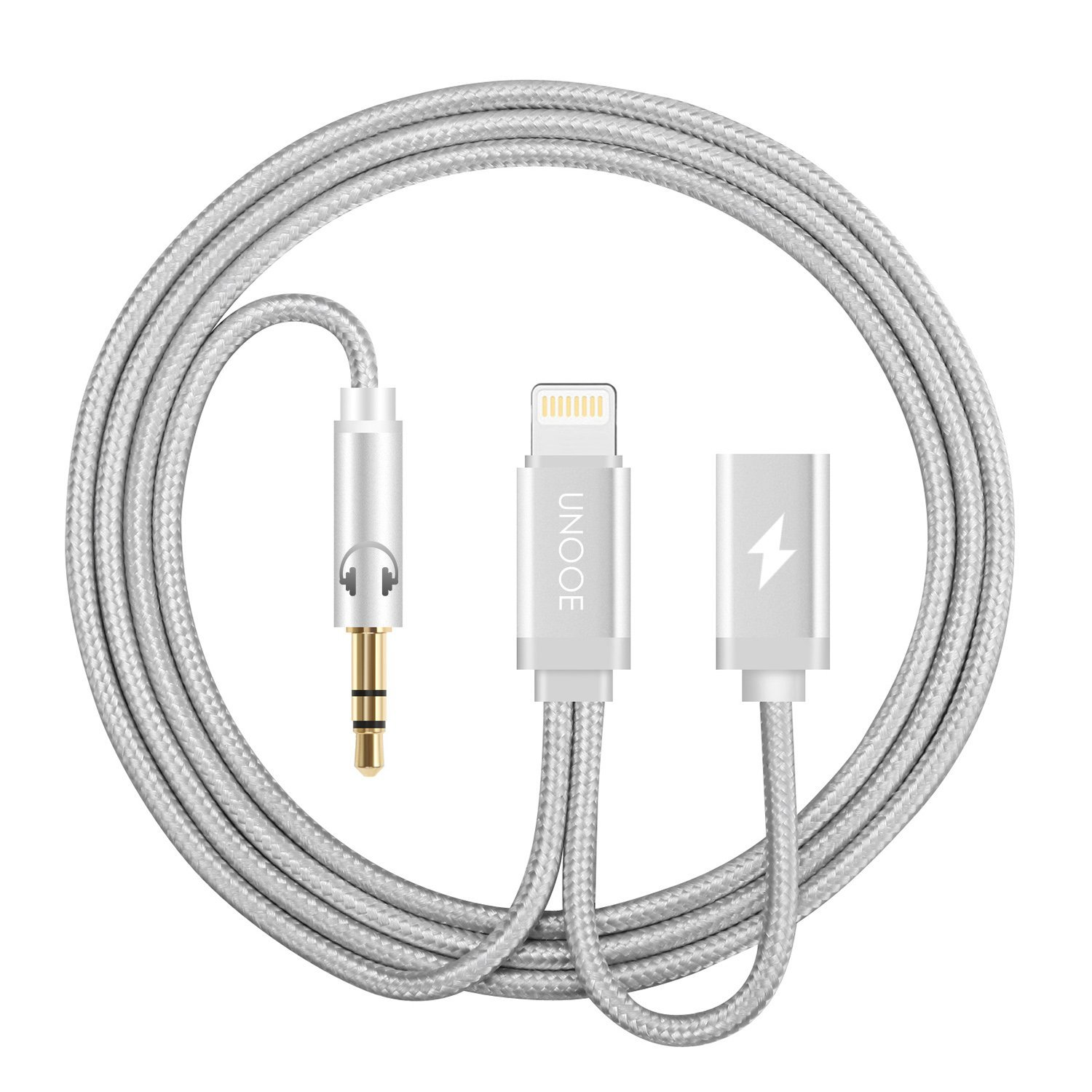 iPhone 7 Aux Adapter, Lightning to 3.5mm Headphone Jack Cable with Lightning Female Charger Cord Port for iPhone 7 / 7 Plus Charging and Listening in Car-Silver