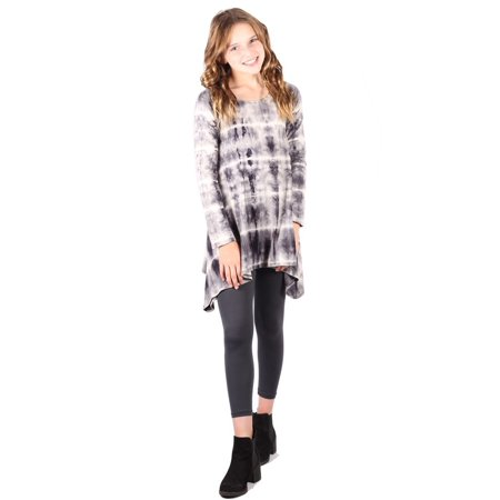 Girls Gray Pattern Long Sleeve Asymmetrical Tunic