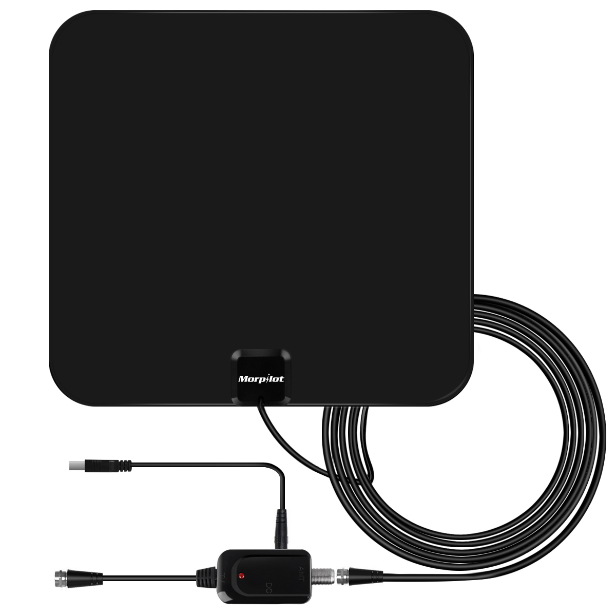 Morpilot TV Antenna,Indoor Amplified TV Antenna 60 Mile Range with Detachable Amplifier Signal Booster (60 Mile)