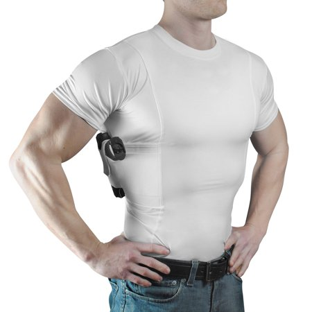 ConcealmentClothes Men's Crew Neck Undercover- Concealed Carry Holster Shirt White