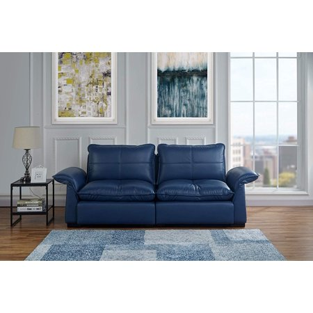Classic Living Room Tufted Leather Sofa with Adjustable Arm Rests (Blue) ()