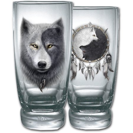 Spiral Direct WOLF CHI Other Water Glasses - Set of 2Wolf |Yin Yang |Native American |Mystical