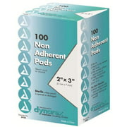 "Dynarex 2"" x 3"" Non-Adherent Sterile Pads 100 Each"