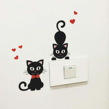 Wall Switch Cat Decoration Removable Wall Stickers Self-adhesive Wall Decals - image 1 of 3