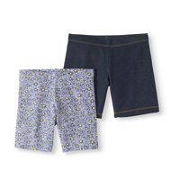 56e1ff1a2a5b Wonder Nation Girls  Solid and Printed Cotton Bike Shorts 2-Pack Set