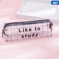 Fancyleo New Transparent Letter Star Heart School Pencil Case Large Capacity Pencil Box Storage Bag Stationery Gift School Supplies