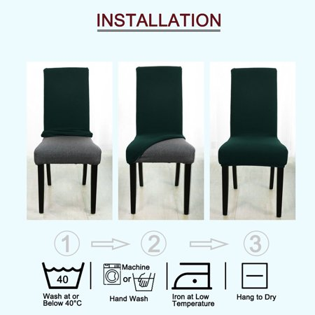 Stretch Knit Jacquard Chair Cover Short Dining Chair Slipcover Dark Green - image 5 de 7