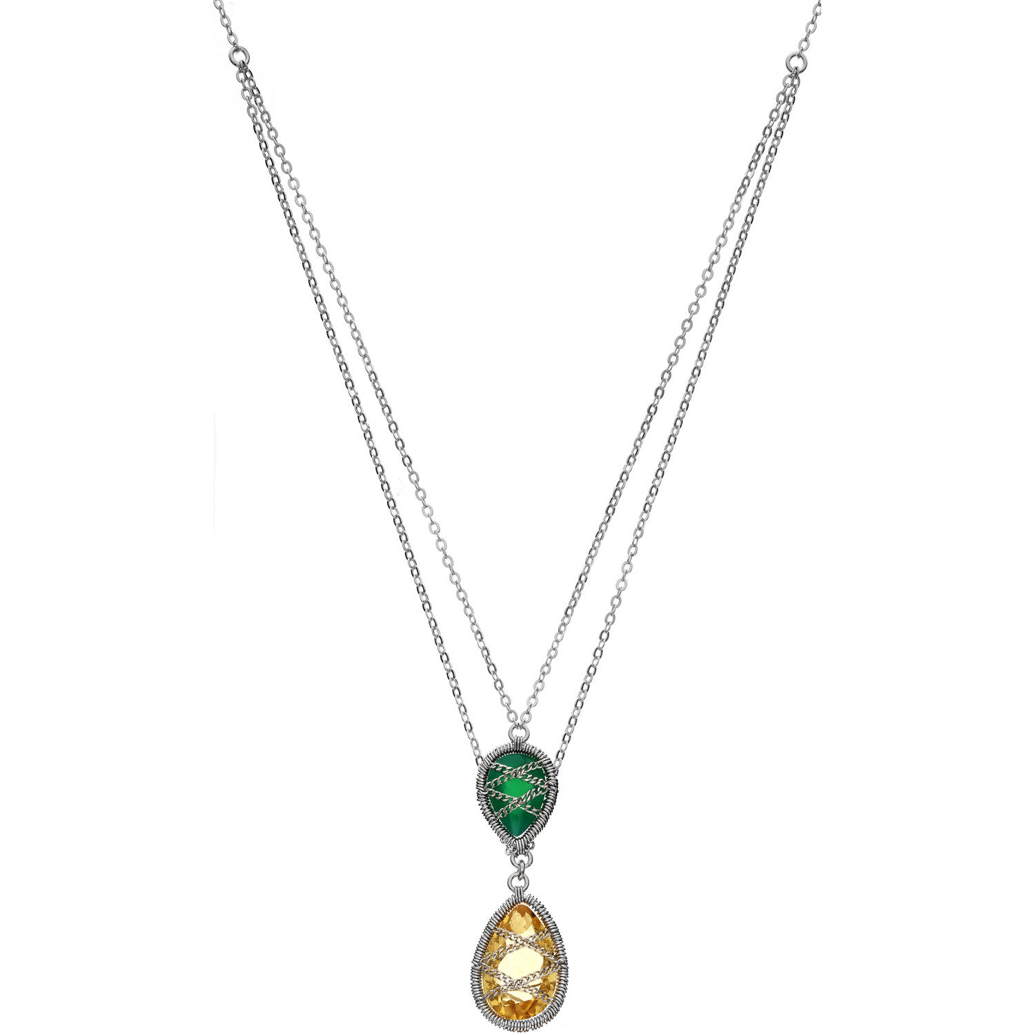 5th & Main Sterling Silver Hand-Wrapped Double Chain Chalcedony and Peridot Stone Pendant Necklace by Generic