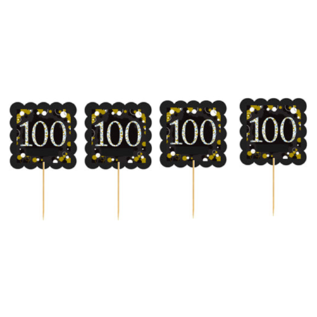 100th MyShinningStar  Birthday / Anniversary Celebration Party Cupcake Picks - 100th Anniversary Plate