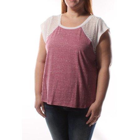 LOVE FIRE Womens Pink Faux Fur Trim Short Sleeve Scoop Neck Top Juniors  Size: XL