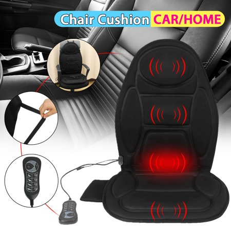 Heated Car Seat Home Office Chair Cushion w/ massage function -Black 12V Heating Warmer Pad Hot Cover Perfect for Cold Weather, Home Office Chair Sofa and Winter Driving ()