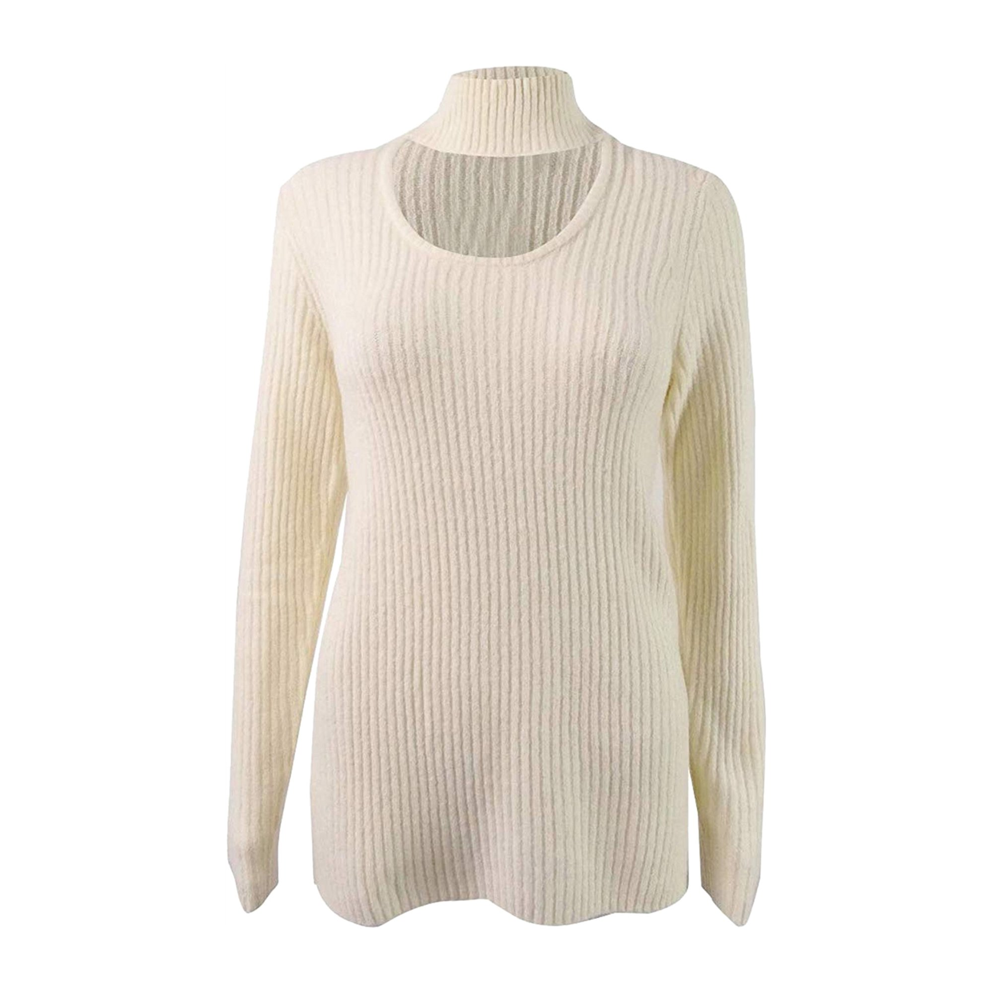 Kensie Womens Ribbed Knit Choker Pullover Sweater tsk S