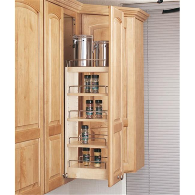 Rev-A-Shelf RS448. WC. 5C 5 inch Wall Pullout Shelving System  Wood