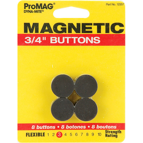 "Magnum Magnetics Corp Dyna-Mite Magnetic Buttons-3/4"" 8/Pkg"