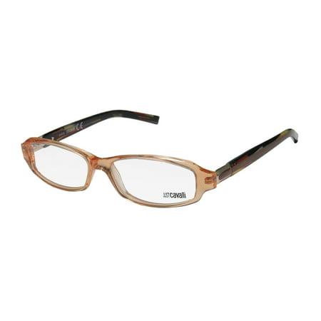 New Just Cavalli Jc372 Mens/Womens Designer Full-Rim Peach / Multicolor Glamorous Contemporary Hip Frame Demo Lenses 54-15-135 Spring Hinges Eyeglasses/Glasses (Just Cavalli Glasses)