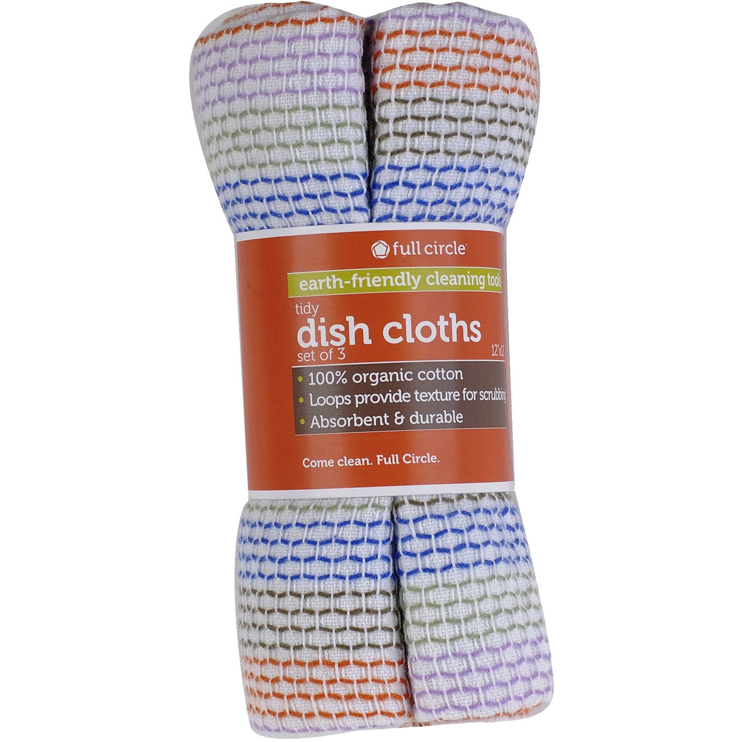 Full Circle Tidy Dish Cloths, FC10206, 3 count