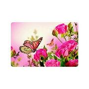 WinHome Butterfly And Pink Roses Doormat Floor Mats Rugs Outdoors/Indoor Doormat Size 23.6x15.7 inches