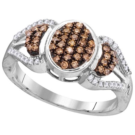 Size - 7 - Solid 10k White Gold Round Chocolate Brown And White Diamond Engagement Ring OR Fashion Band Prong Set Oval Shaped Ring (1/3 cttw)
