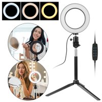 """EEEKit Professional 5500K Ring Light with Stand, Dimmable 6"""" LED SMD Studio Ring Light 3 Color Light 10 Brightness Level Photographic Ring Fill Light Kit Video Light Holder for Video Shooting With Bag"""