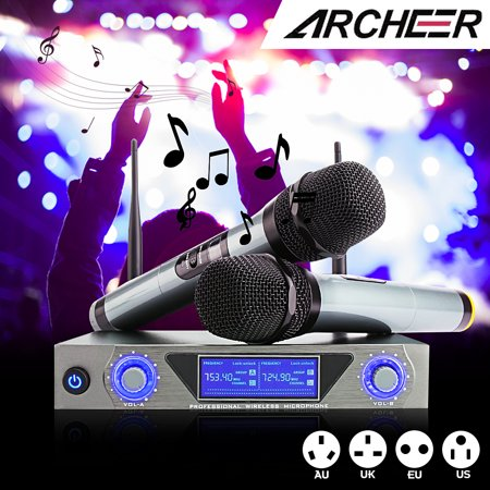 ARCHEER UHF Wireless Microphone Receiver System with 2 Cordless LCD Display Handheld Dynamic Microphones - For Outdoor Wedding Conference Karaoke Microphone Systems Party - image 9 of 9