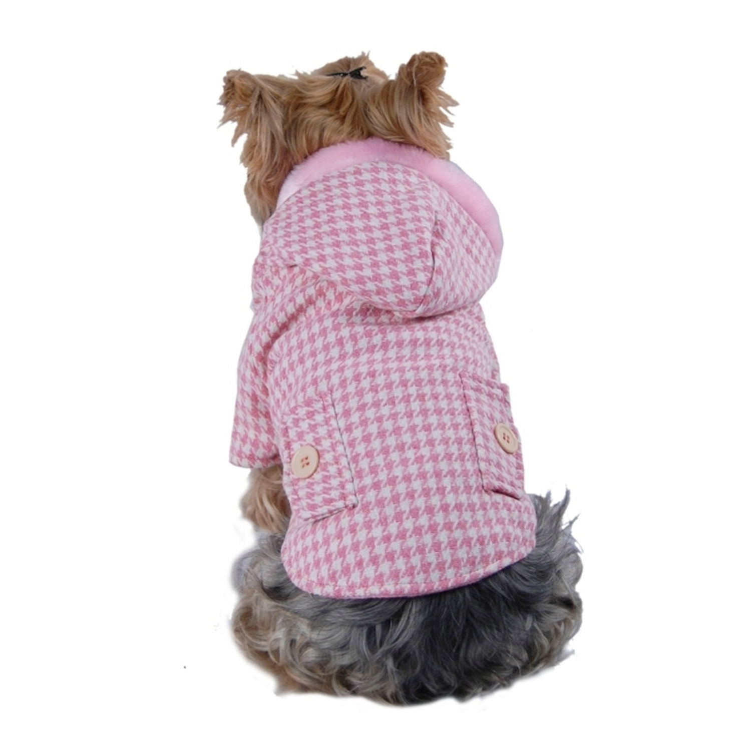Pink Hundstooth Jacket For Puppy Dog - Small (Holiday Christmas Gift for Pet)