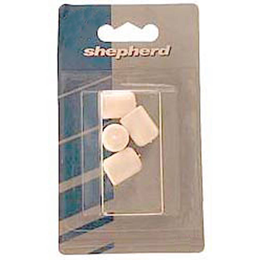 "Shepherd 9744 1-1/8"" White Plastic Leg Tips, 4 Count"