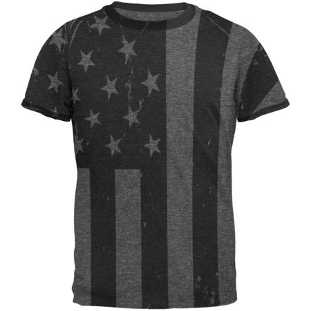 4th of July Black And White American Flag Mens Ringer T Shirt