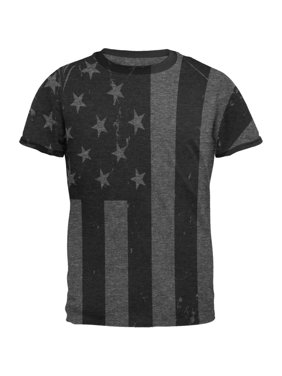 120c23ae Product Image 4th of July Black And White American Flag Mens Ringer T Shirt
