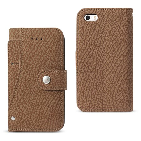 Reiko Iphone Se Wallet Case With Slide Out Pocket And Fold Stand In Brown