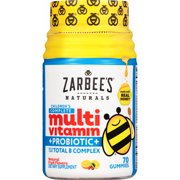 Zarbee's Naturals Children's Complete Multivitamin + Probiotic Gummies with our Total B Complex and Essential Vitamins, Natural Fruit Flavors, 70 Gummies (1 Bottle)