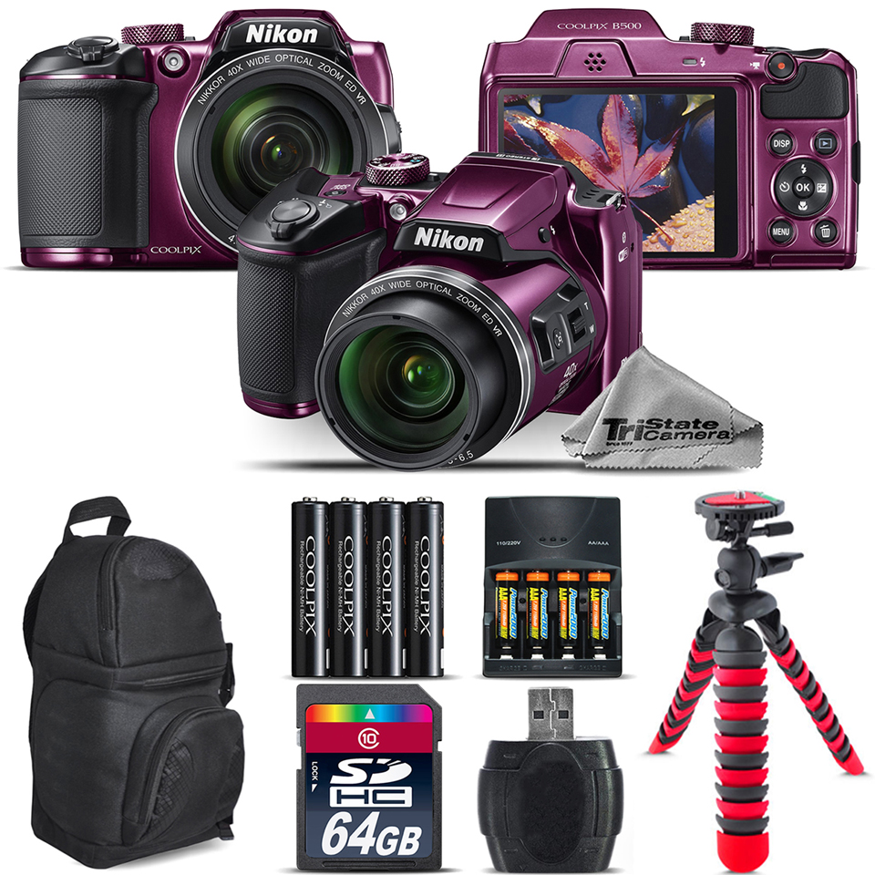 Nikon COOLPIX B500 Plum Camera 40x Zoom + Extra Battery + Backpack - 64GB Bundle