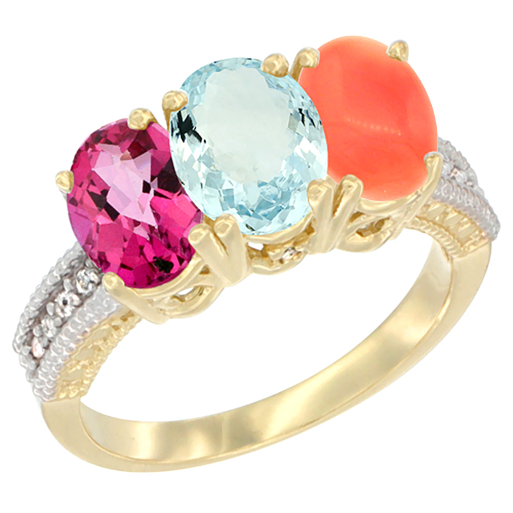 14K Yellow Gold Natural Pink Topaz, Aquamarine & Coral Ring 3-Stone 7x5 mm Oval Diamond Accent, sizes 5 10 by WorldJewels
