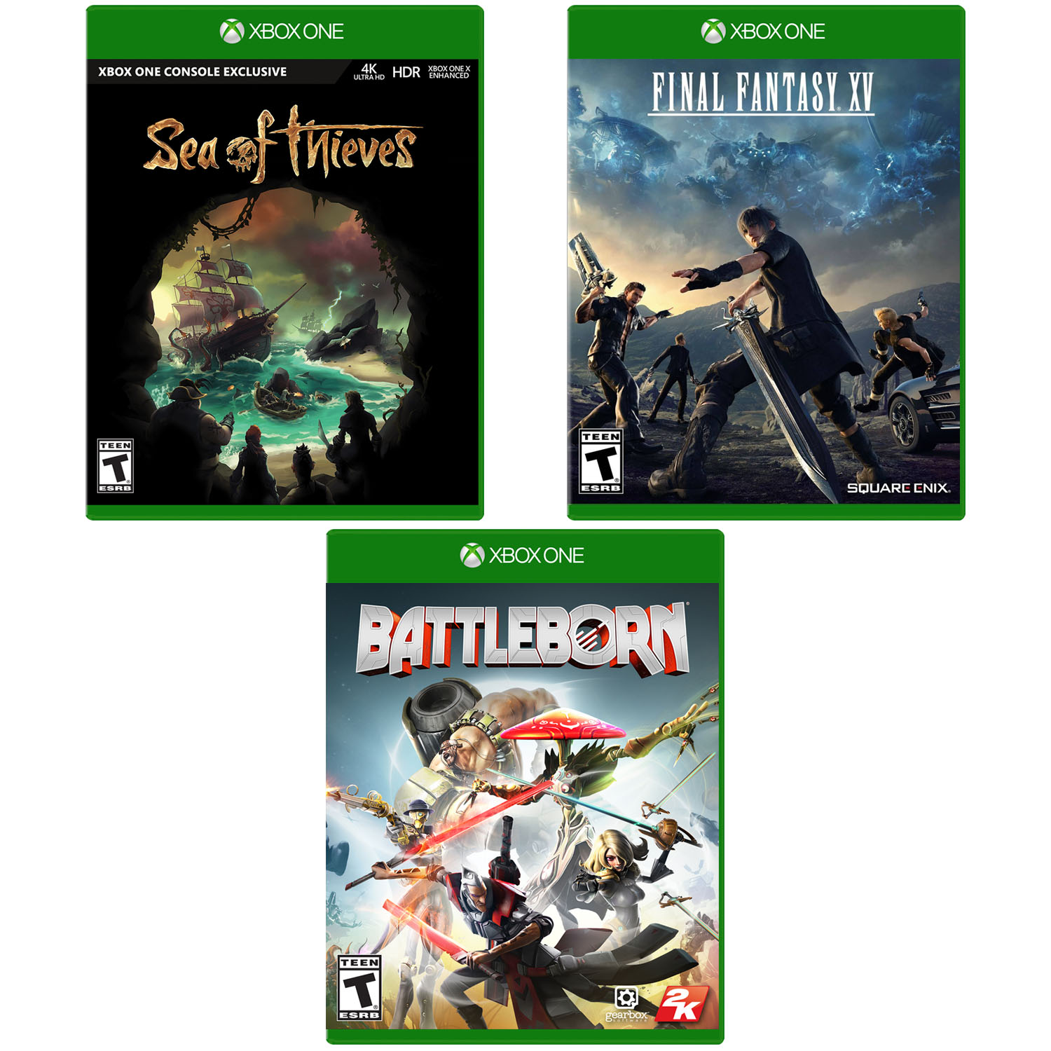 XBOX BUNDLE: Sea of Thieves/Final Fantasy XV/Battleborn BUNDLE, Xbox One, Preowned/Refurbished
