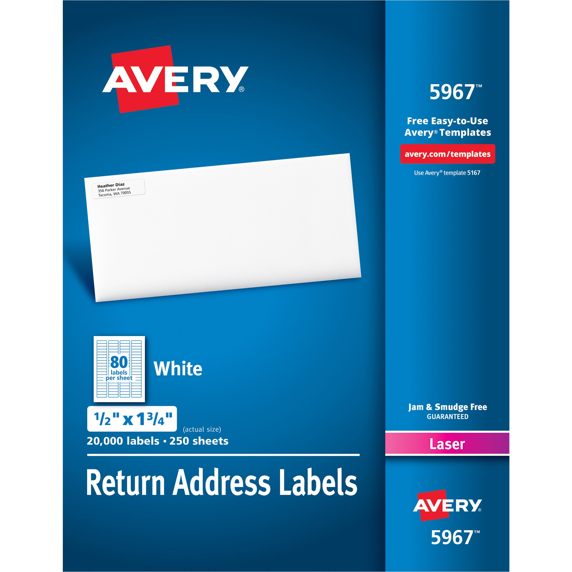 Avery Address Labels for Laser Printers, 1 2 x 1 3 4, White, 20000 Box by Avery