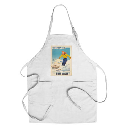 Sun Valley - This Winter Vintage Poster (artist: Anonymous) USA c. 1950 (Cotton/Polyester Chef's Apron)