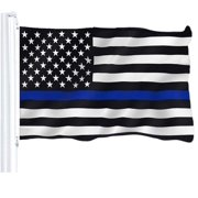 G128 - Thin Blue Line U.S. Printed Flag 3X5 FT Honoring Men and Women of Law Enforcement Brass Grommets 150D Polyester Indoor/Outdoor - Much Thicker and More Durable than 100D and 75D Polyester