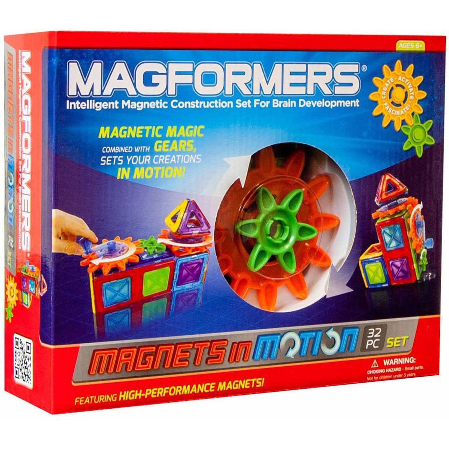 Magformers Magnets in Motion 32-Piece Magnetic Construction Gear Set