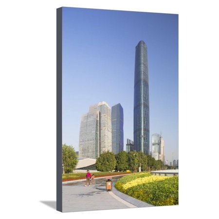 International Finance Centre and Skyscrapers in Zhujiang New Town Stretched Canvas Print Wall Art By Ian Trower - Compton Town Center