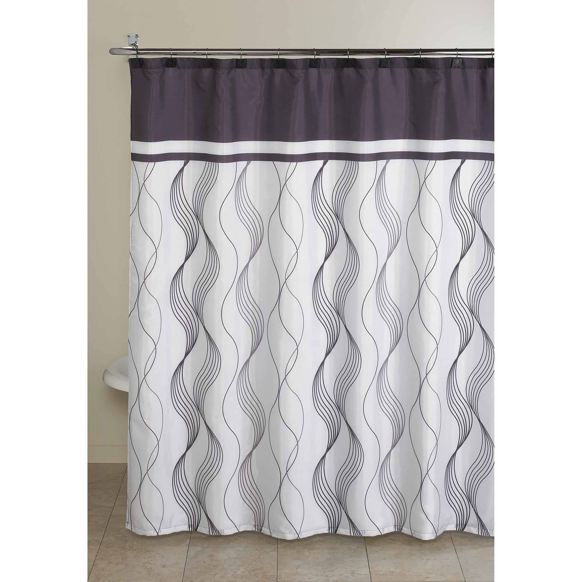 Mainstays 13-Piece Fabric Shower Curtain and Decorative Hooks Bath Set, Multiple Colors and Sizes Available