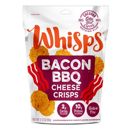 Parmesan Protein Chips - Cello Whisps Cheese Crisps - Bacon Barbecue (2.12oz)