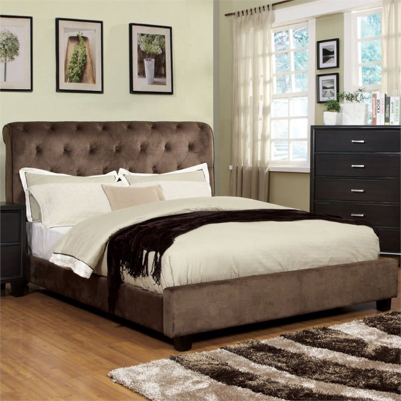 Furniture of America Weenzel Button Tufted Full Bed in Dark Brown
