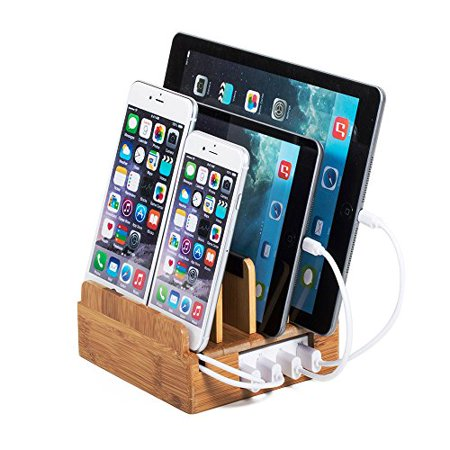 G.U.S [2017 Newest Version] Charging Station, Detachable Universal Multi-Port USB Charging Station Desktop and Bedside Charging Stand Organizer. Eco-Friendly Bamboo CORE with Cable Ties