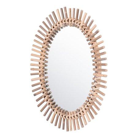 Modern Contemporary Decorative Round Accent Wall Mirror, Brown, Rattan ()
