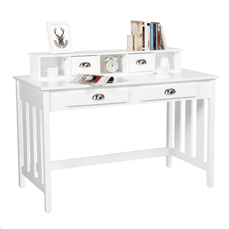 Topeakmart Writing Computer Desk  Work Station Solid Pine Wood Computer Desktop Table with Removable Hutch White